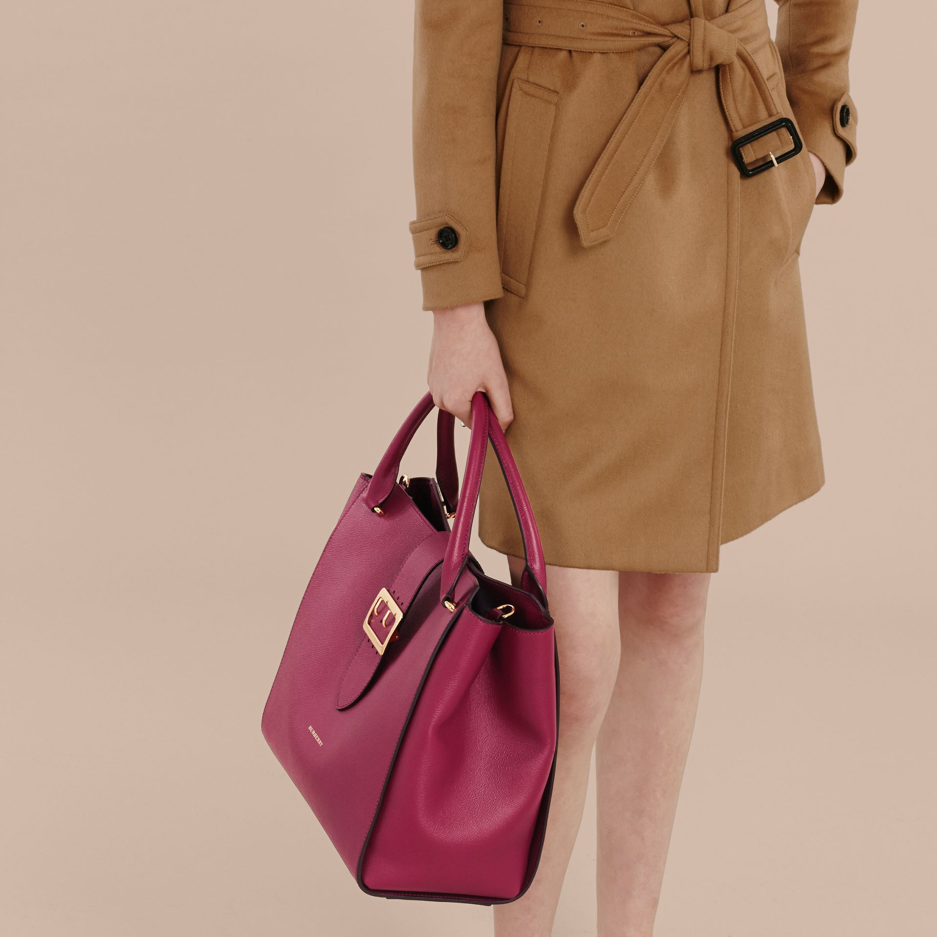 The Large Buckle Tote in Grainy Leather in Dark Plum - gallery image 4