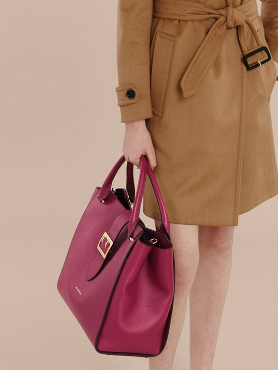 The Large Buckle Tote in Grainy Leather in Dark Plum - cell image 3