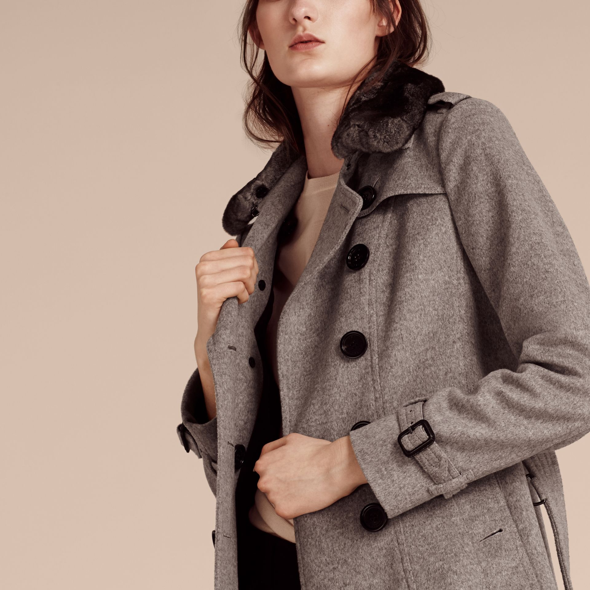 Pale grey melange Wool Cashmere Trench Coat with Fur Collar - gallery image 4