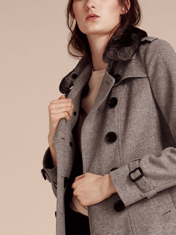 Pale grey melange Wool Cashmere Trench Coat with Fur Collar - cell image 3
