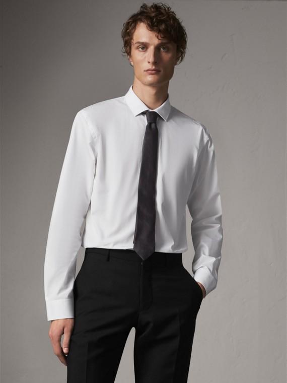 Modern Fit Cotton Poplin Shirt in White