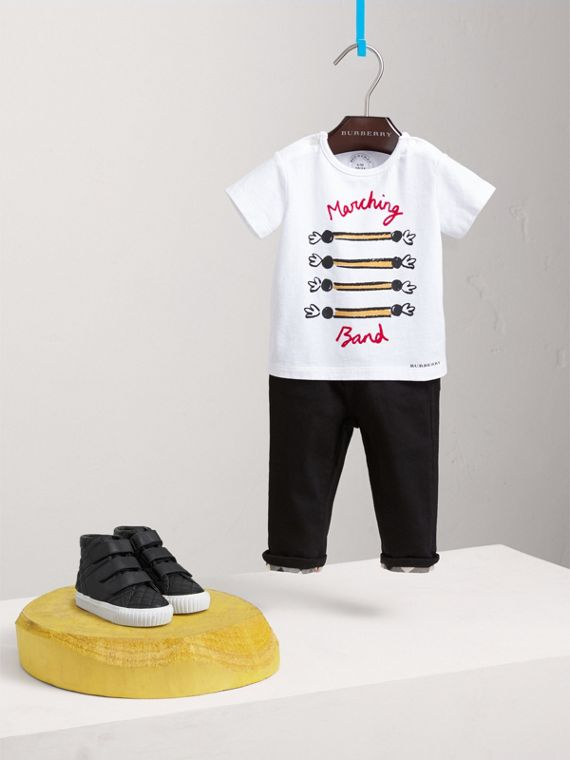 Parade Print Cotton T-shirt in White