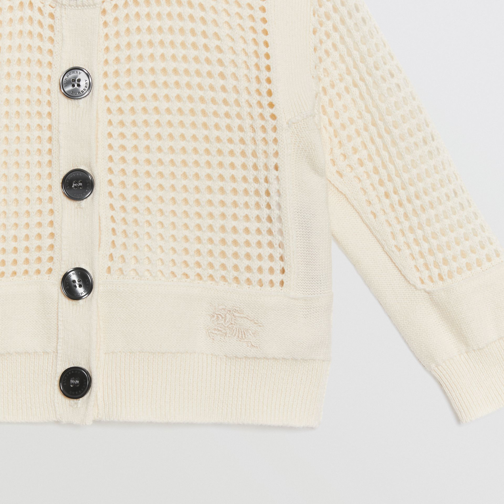 Open Knit Cotton Crew Neck Cardigan in Ivory - Children | Burberry - gallery image 4