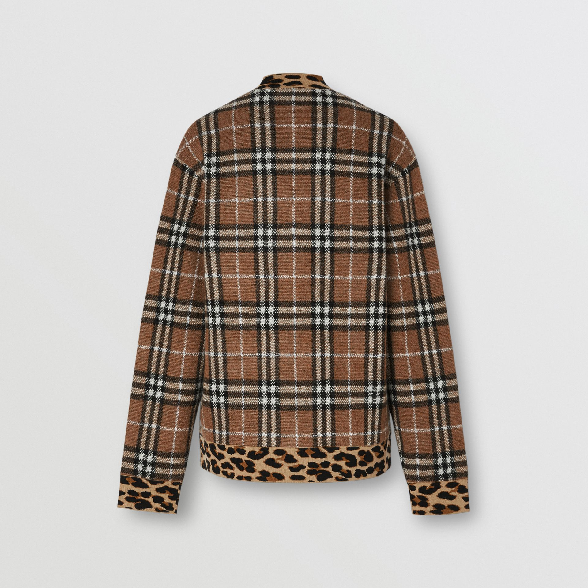 Leopard Detail Vintage Check Cashmere Blend Sweater in Archive Beige - Women | Burberry - gallery image 6