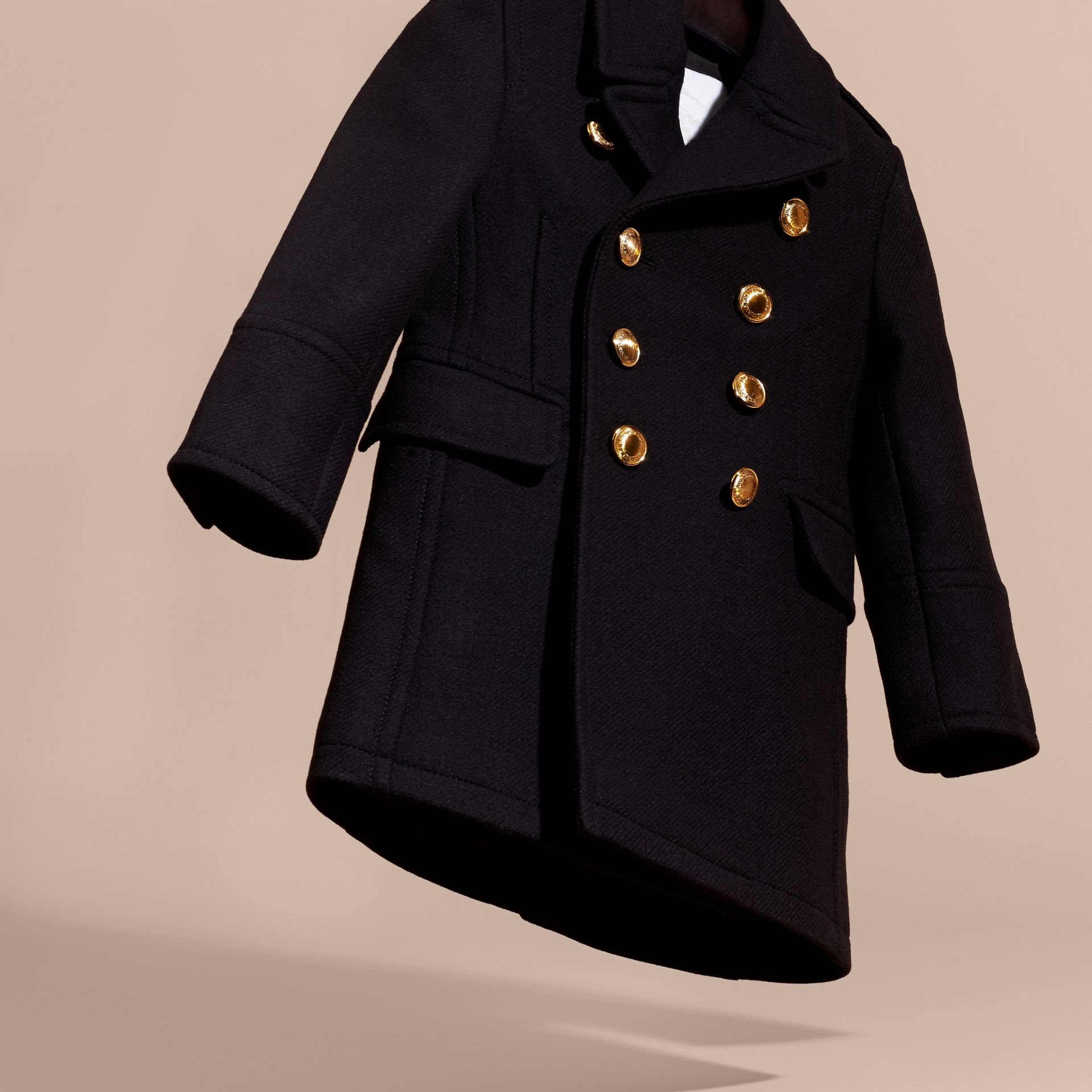 Navy Wool Cashmere Blend Tailored Coat with Domed Buttons - gallery image 3