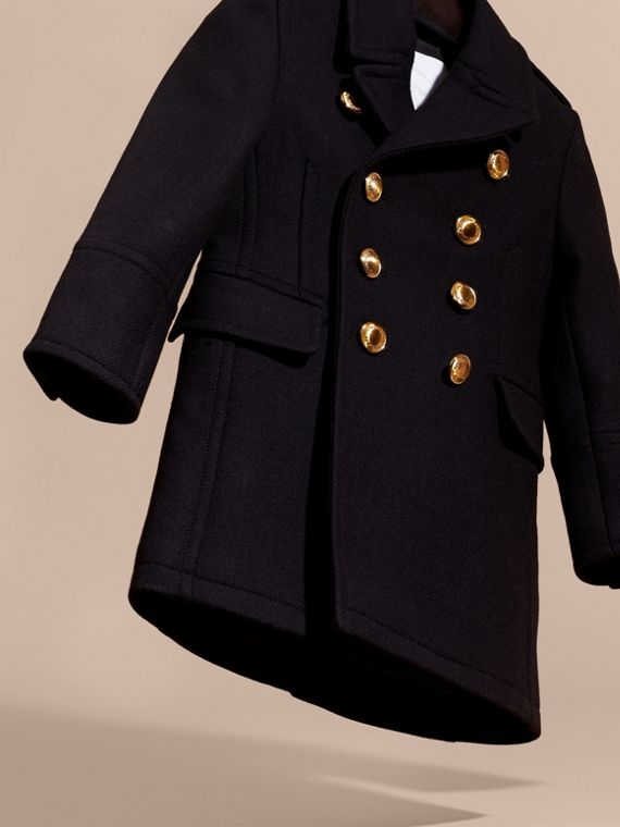 Navy Wool Cashmere Blend Tailored Coat with Domed Buttons - cell image 2