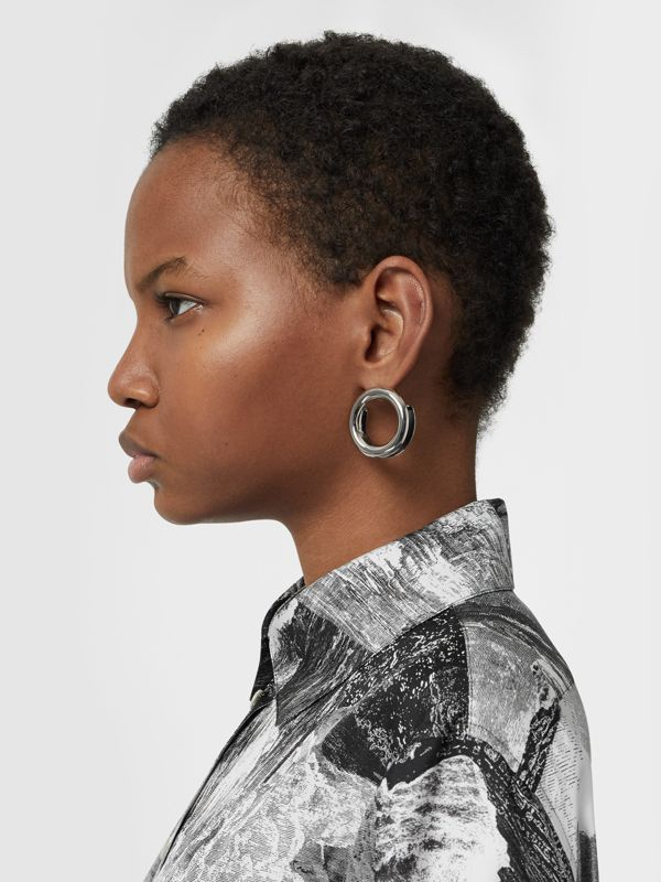 Leather Detail Grommet Earrings in Palladio/black - Women | Burberry United Kingdom - cell image 2