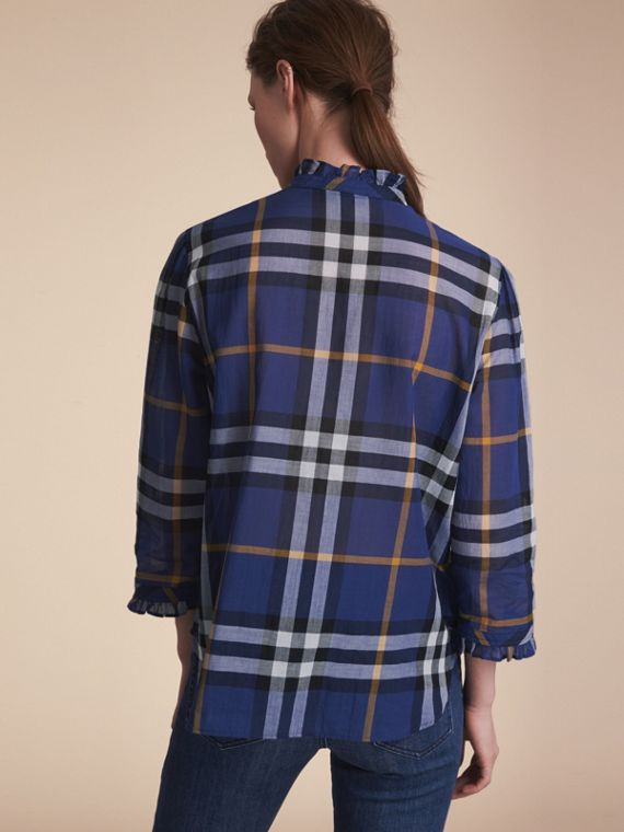 Ruffle Detail Check Cotton Shirt in Lapis Blue - Women | Burberry - cell image 2
