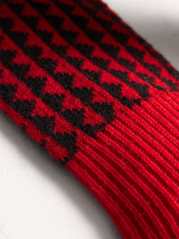 Geometric Wool Cashmere Patchwork Socks in Charcoal | Burberry United Kingdom - cell image 1