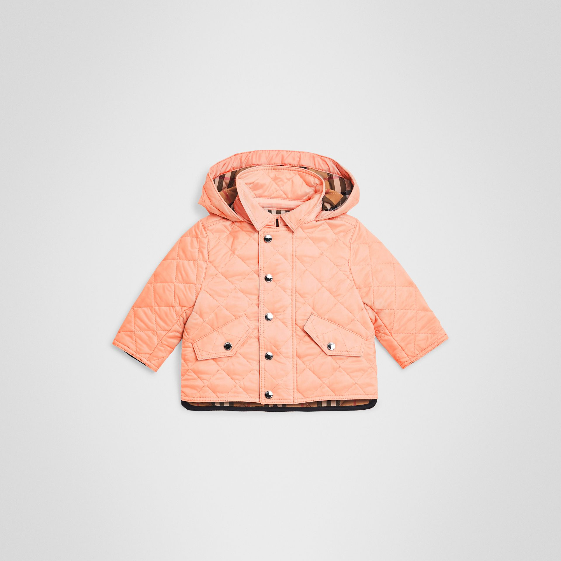 Diamond Quilted Hooded Jacket in Apricot Pink - Children | Burberry United Kingdom - gallery image 0