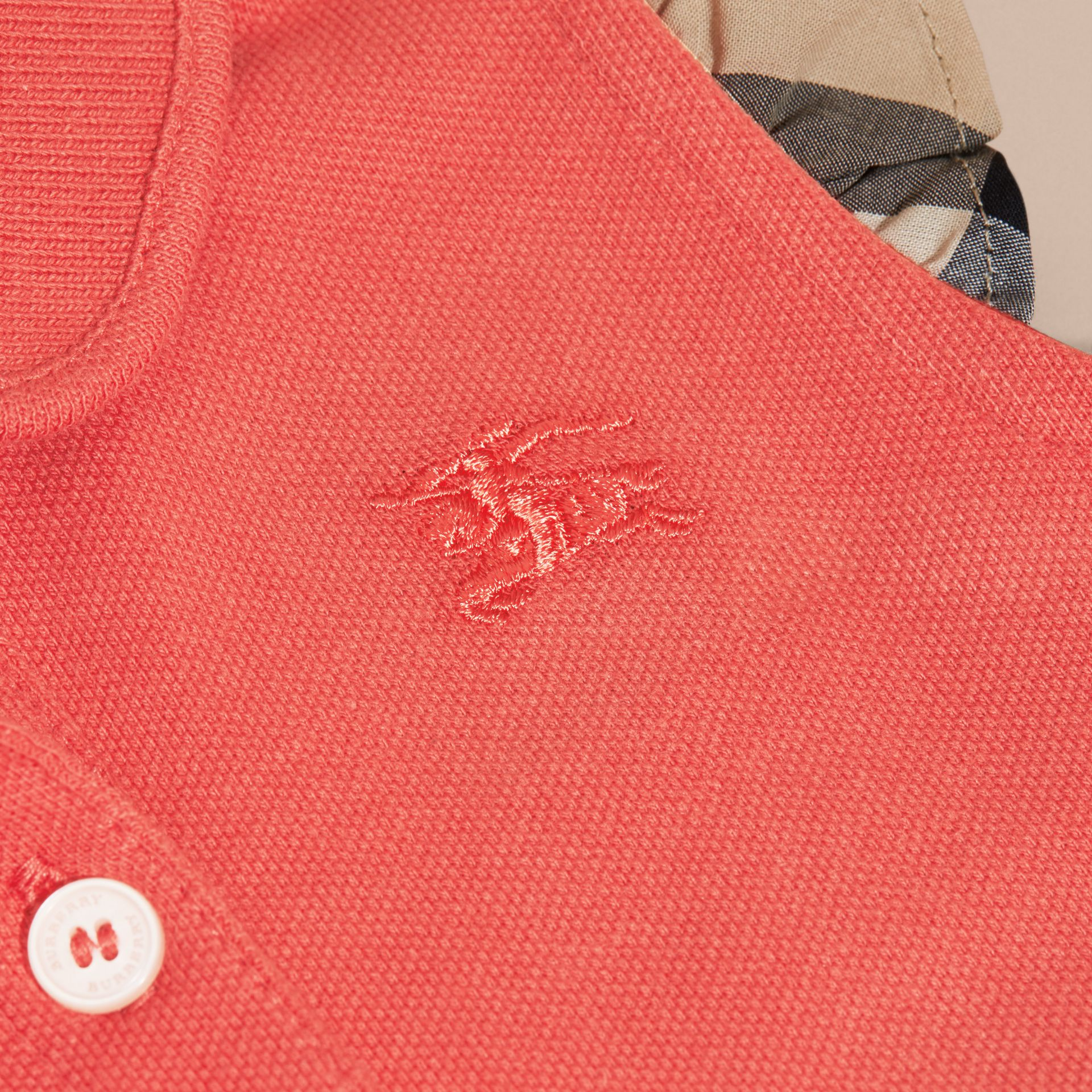 Flutter-sleeve Cotton Piqué Polo Shirt in Coral Red - gallery image 2
