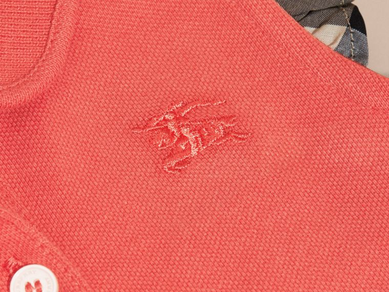 Flutter-sleeve Cotton Piqué Polo Shirt in Coral Red - cell image 1