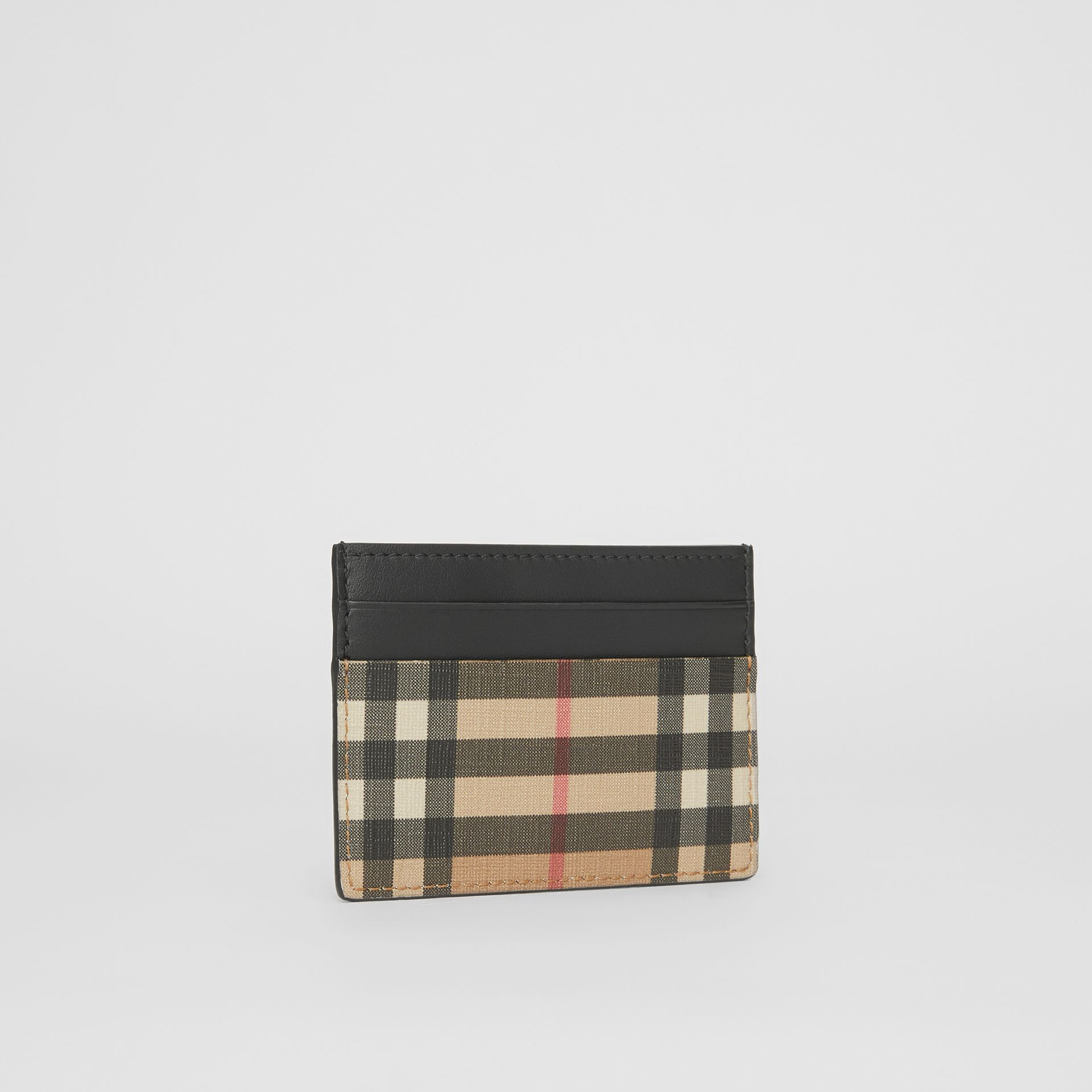 Vintage Check E-canvas and Leather Card Case in Archive Beige - Men | Burberry Hong Kong - gallery image 3