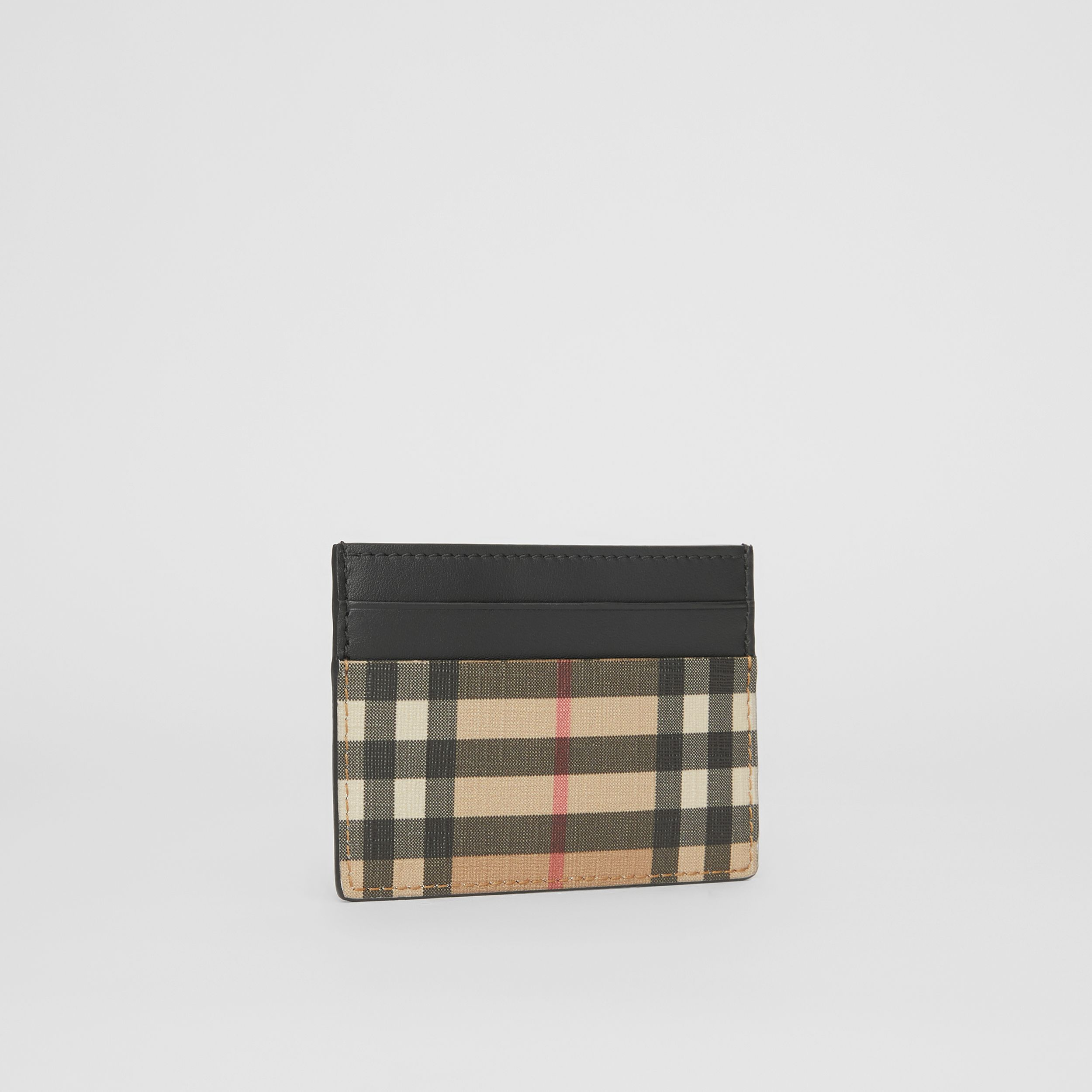 Vintage Check E-canvas and Leather Card Case in Archive Beige - Men | Burberry - 4