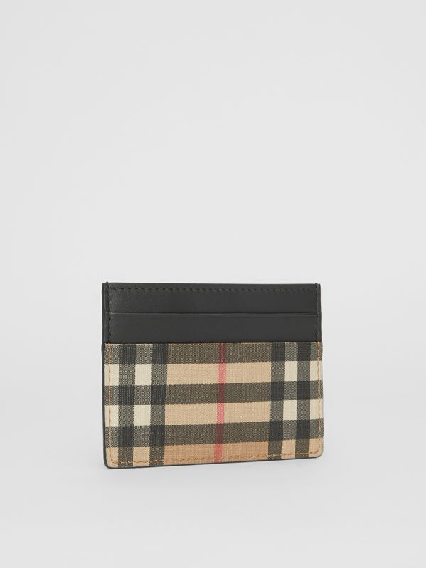 Vintage Check E-canvas and Leather Card Case in Archive Beige - Men | Burberry Hong Kong - cell image 3