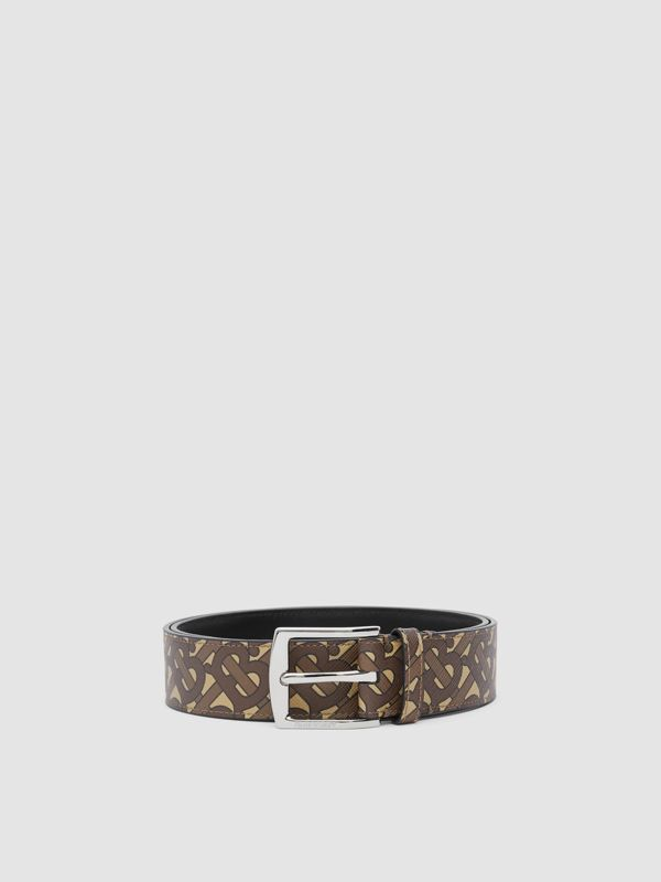 Monogram E-canvas Belt in Bridle Brown - Men | Burberry Singapore - cell image 3