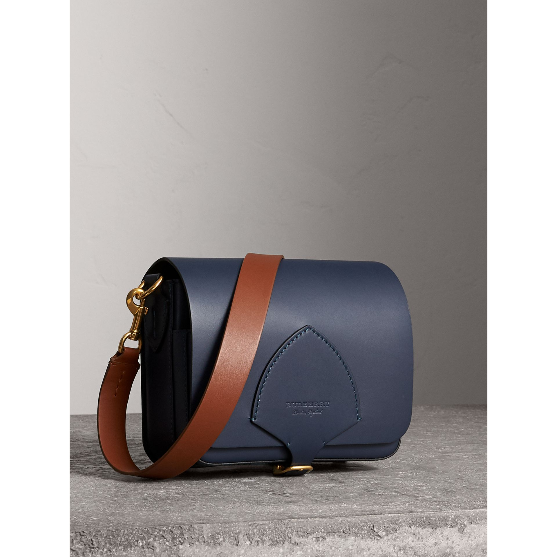 The Square Satchel in Leather in Indigo - Women | Burberry United Kingdom - gallery image 6