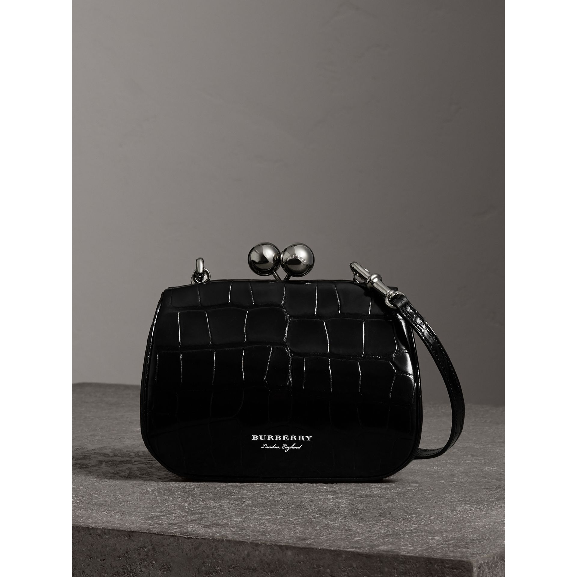 Small Alligator Metal Frame Clutch Bag in Black - Women | Burberry - gallery image 0