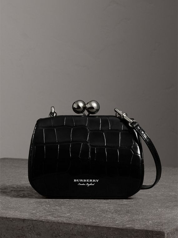 Small Alligator Metal Frame Clutch Bag in Black