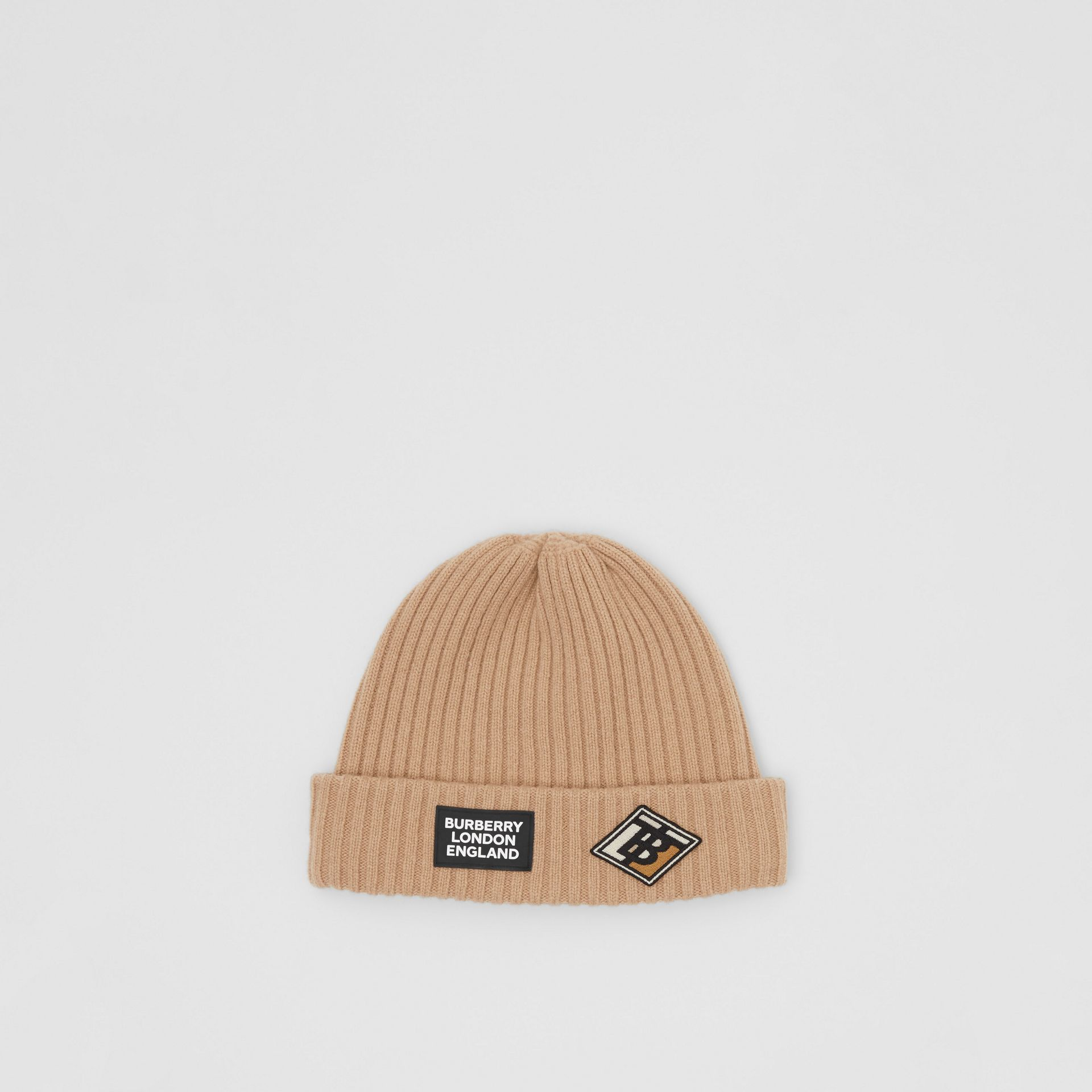 Logo Graphic Rib Knit Wool Beanie in Archive Beige | Burberry United Kingdom - gallery image 0