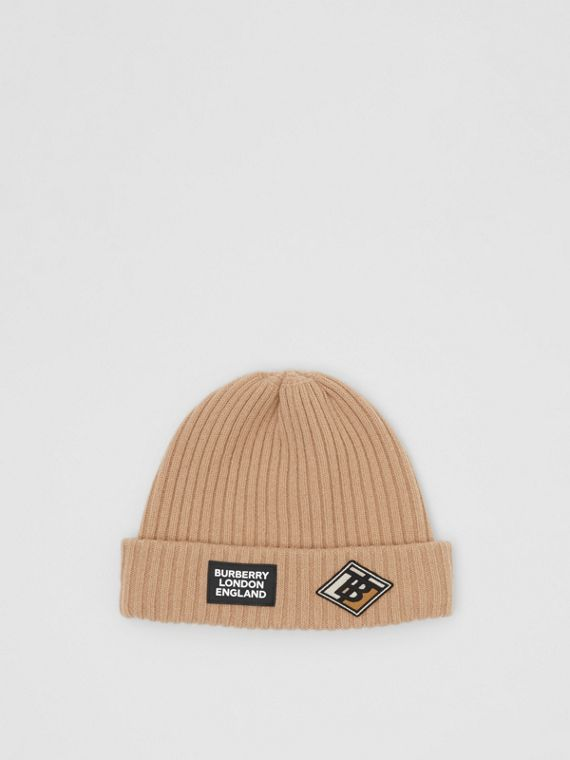 Logo Graphic Rib Knit Wool Beanie in Archive Beige