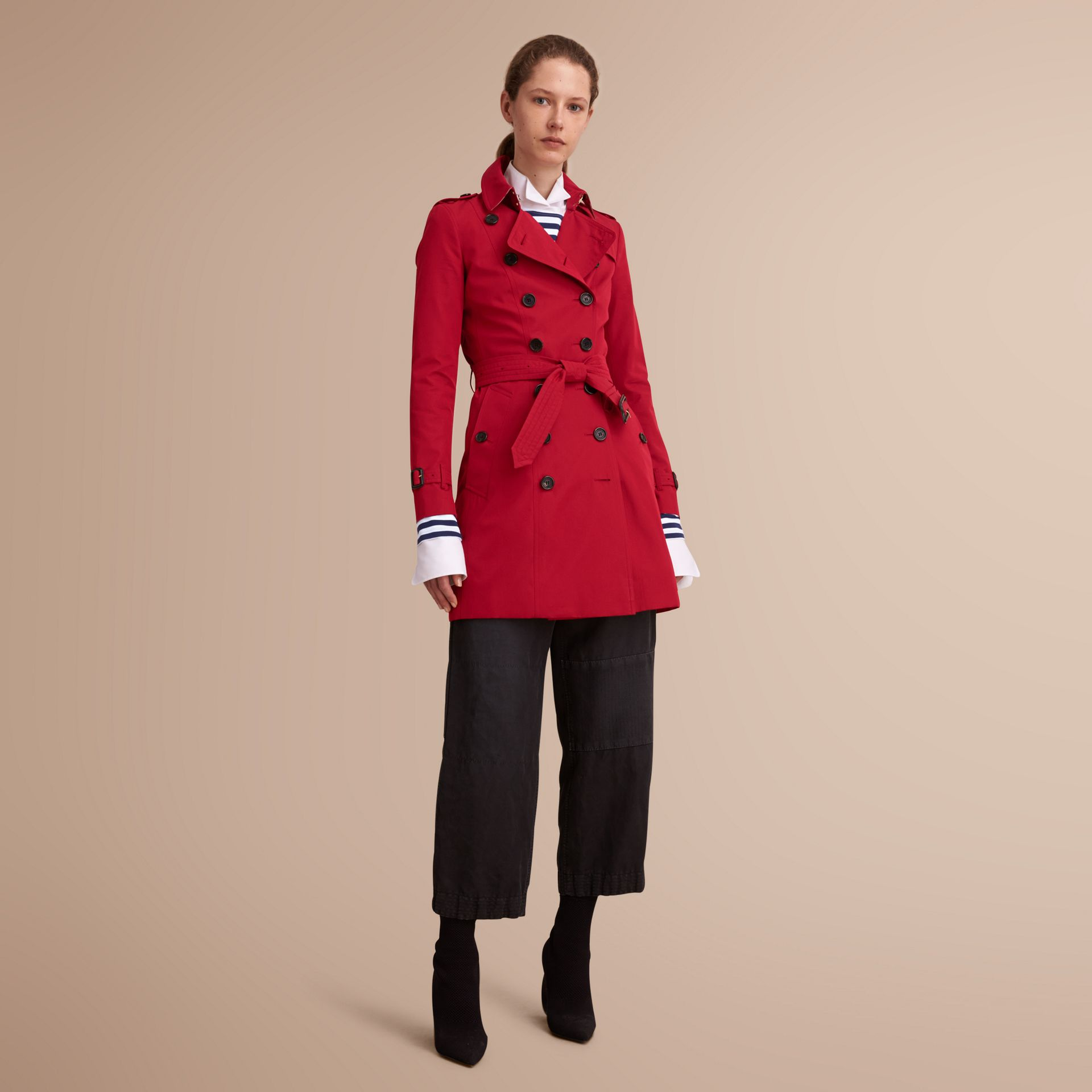 The Chelsea – Mid-length Heritage Trench Coat in Parade Red - gallery image 1