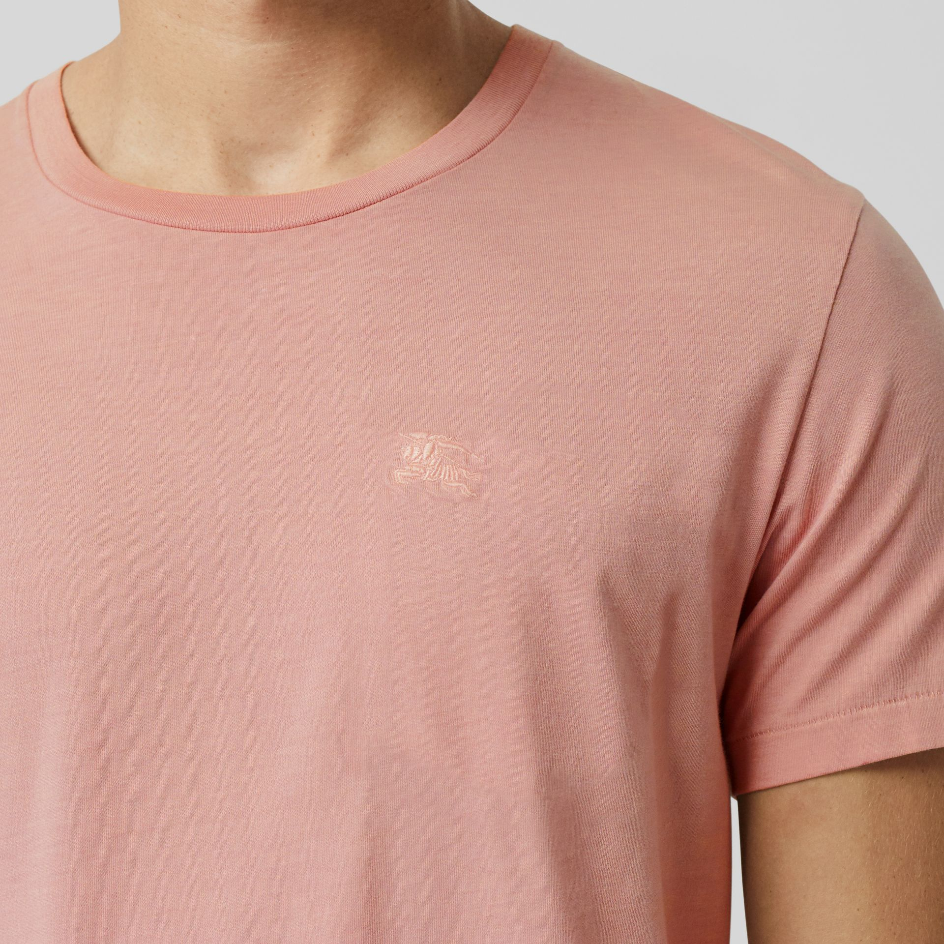 Cotton T-shirt in Chalk Pink - Men | Burberry Australia - gallery image 1