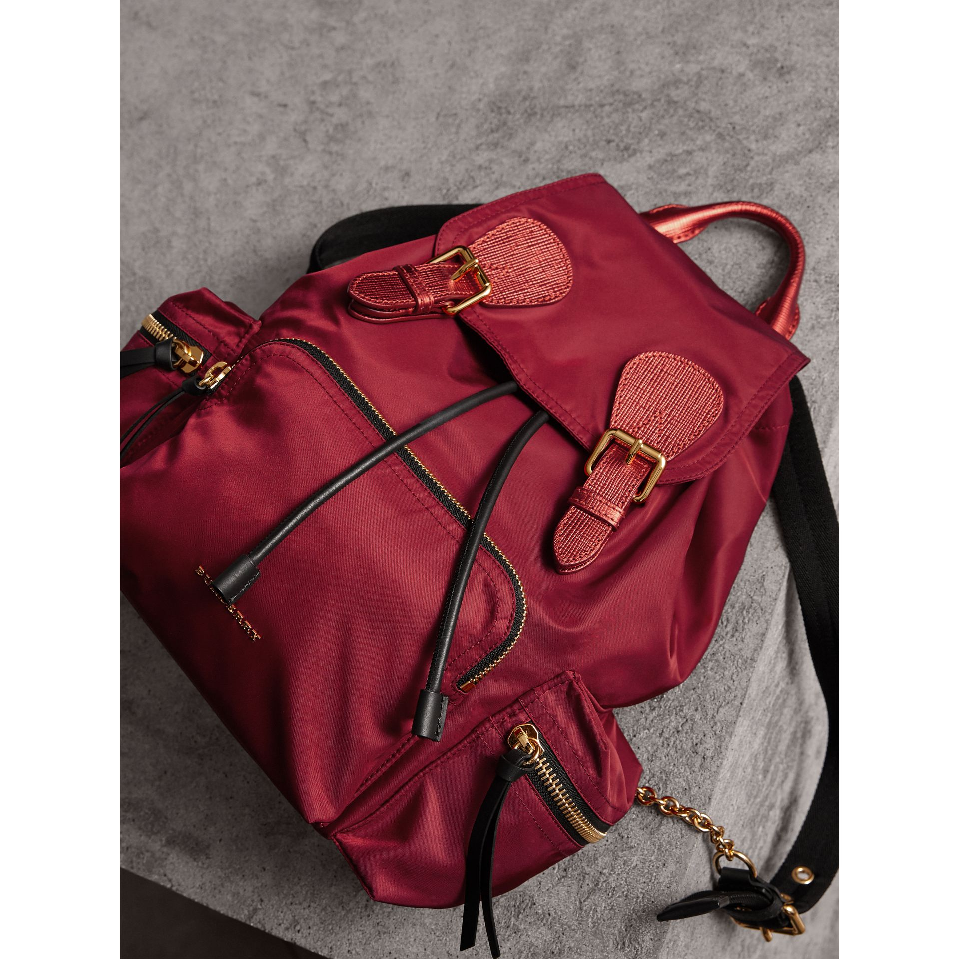 The Medium Rucksack in Technical Nylon and Leather in Crimson Red - Women | Burberry Singapore - gallery image 5