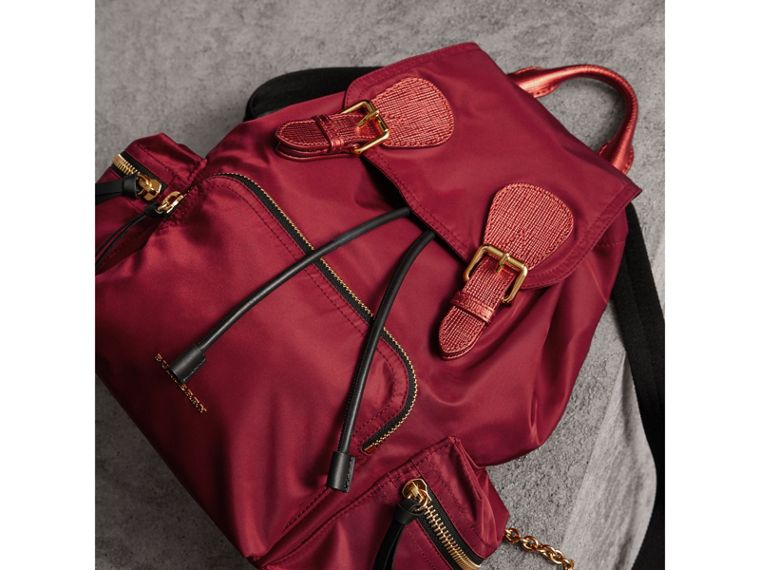 The Medium Rucksack in Technical Nylon and Leather in Crimson Red - Women | Burberry - cell image 4