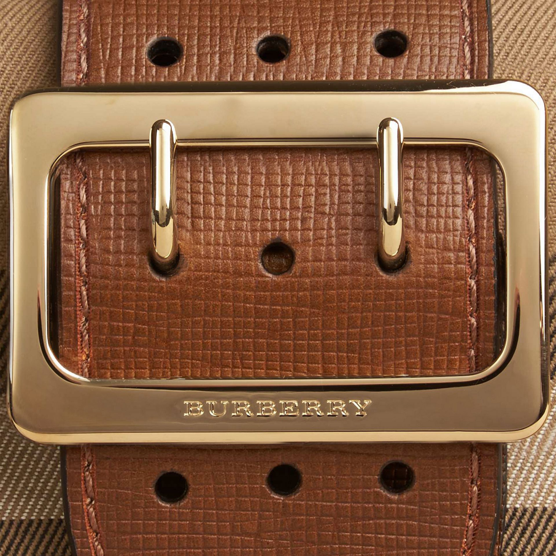 Tan The Small Buckle Bag in House Check and Leather Tan - gallery image 2