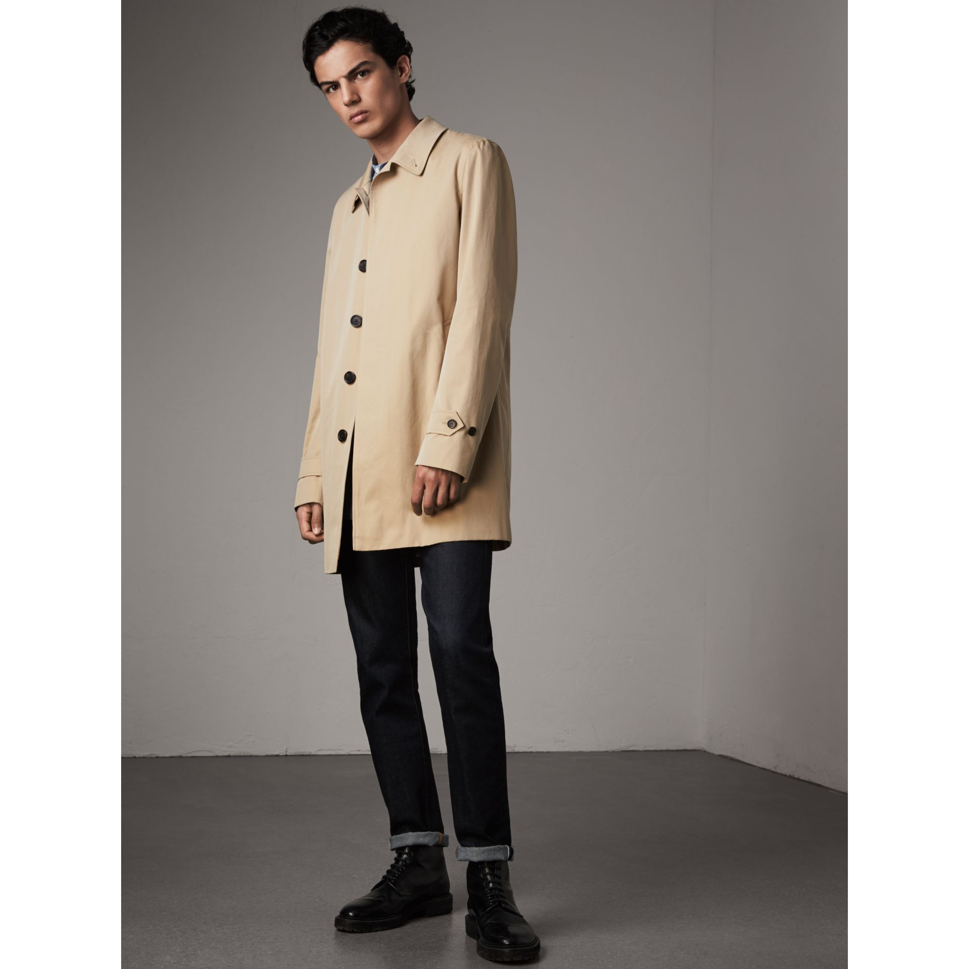 Cotton Gabardine Car Coat in Honey - Men | Burberry - gallery image 7