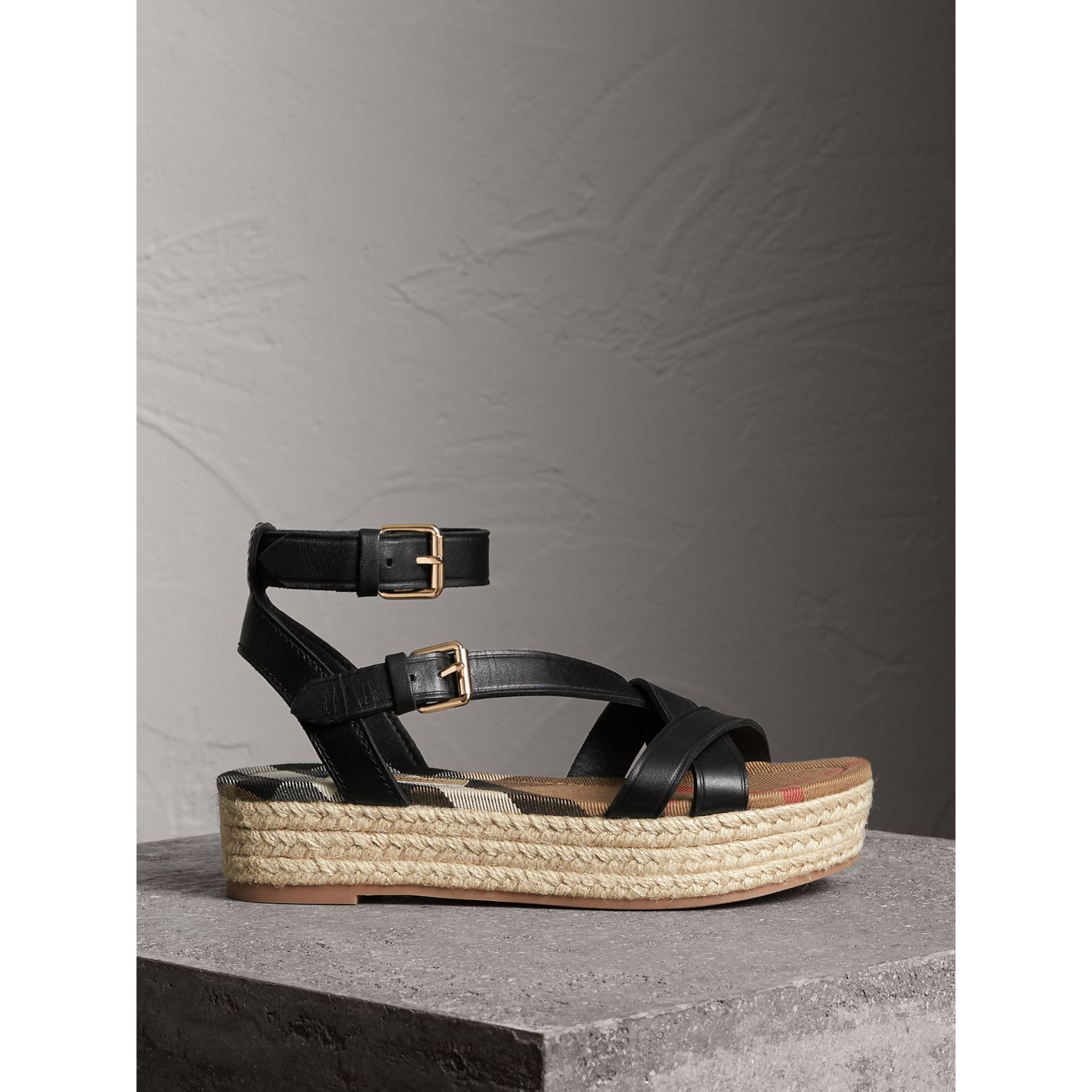 Leather and House Check Espadrille Sandals in Black - Women | Burberry - gallery image 1