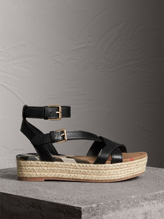 Leather and House Check Espadrille Sandals in Black