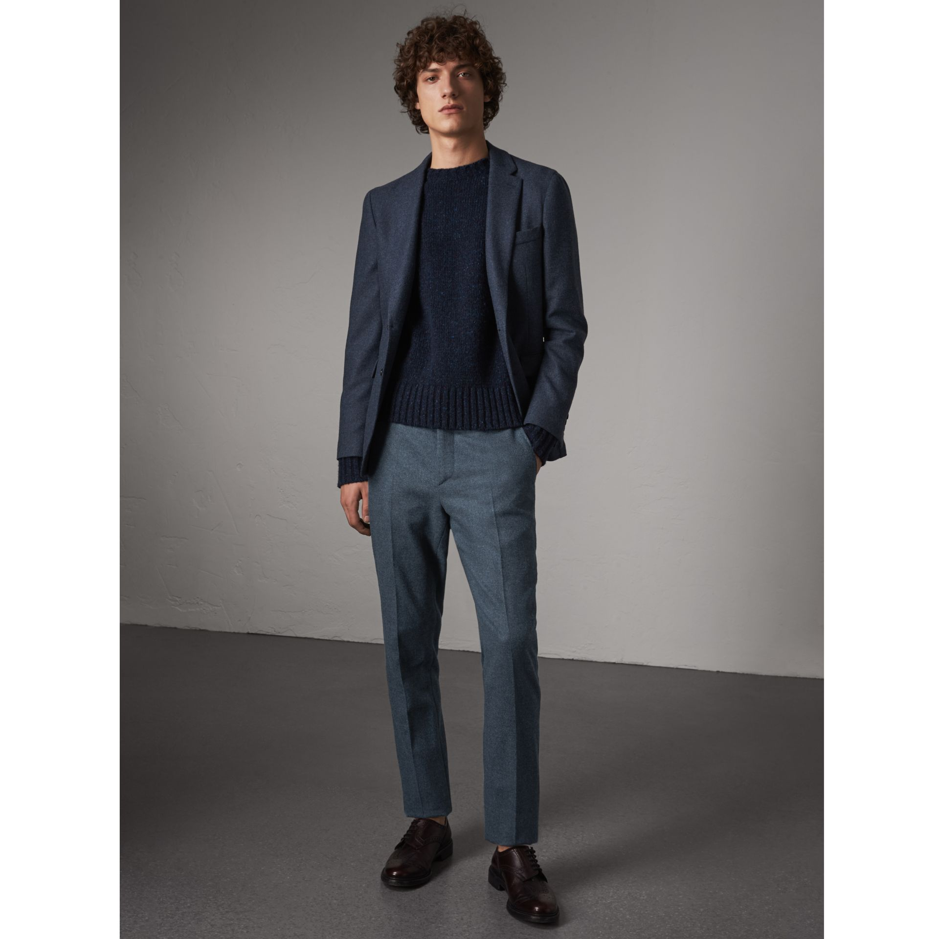 Soho Fit Wool Trousers in Dark Airforce Blue - Men | Burberry - gallery image 1