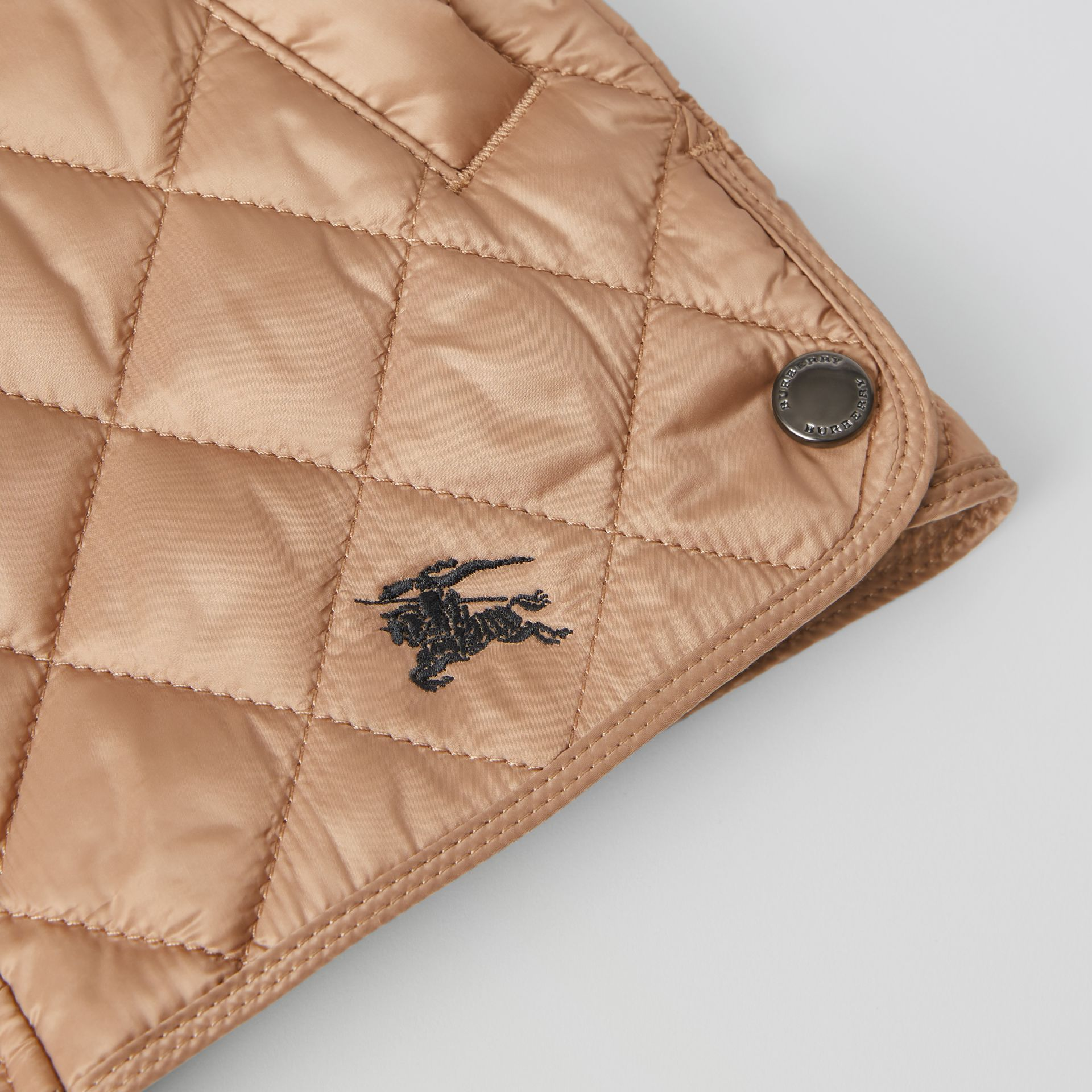 Lightweight Diamond Quilted Jacket in Camel | Burberry - gallery image 1