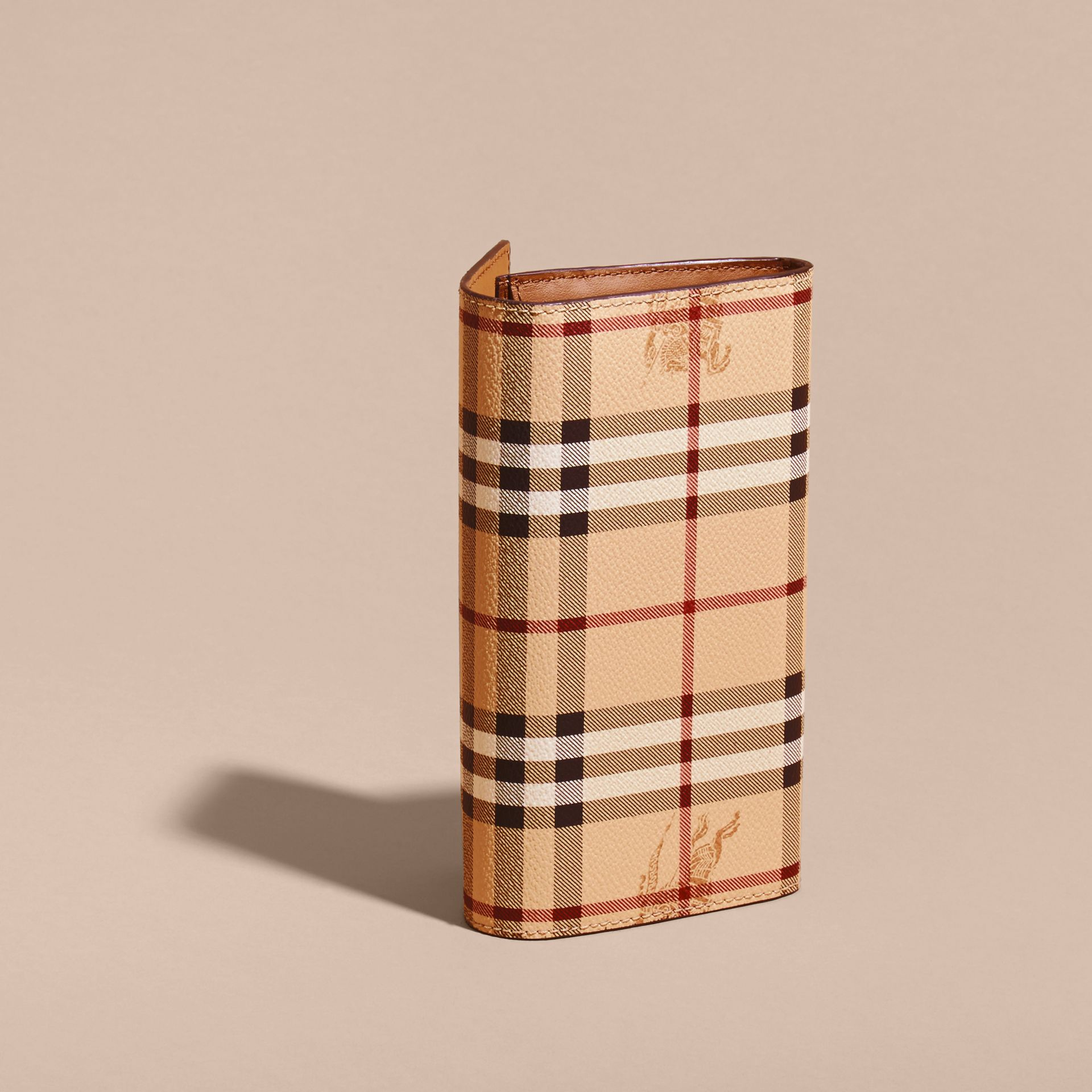 Haymarket Check and Leather Continental Wallet in Tan - Women | Burberry Canada - gallery image 4
