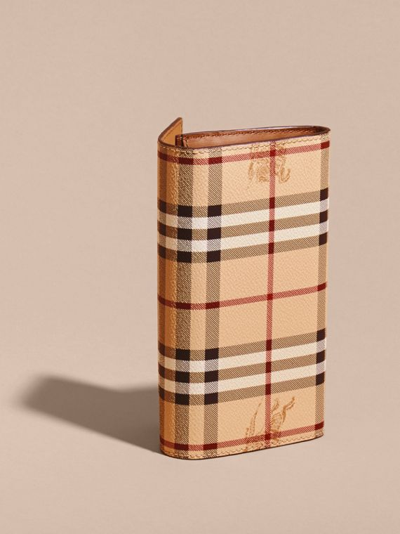 Haymarket Check and Leather Continental Wallet in Tan - Women | Burberry - cell image 3