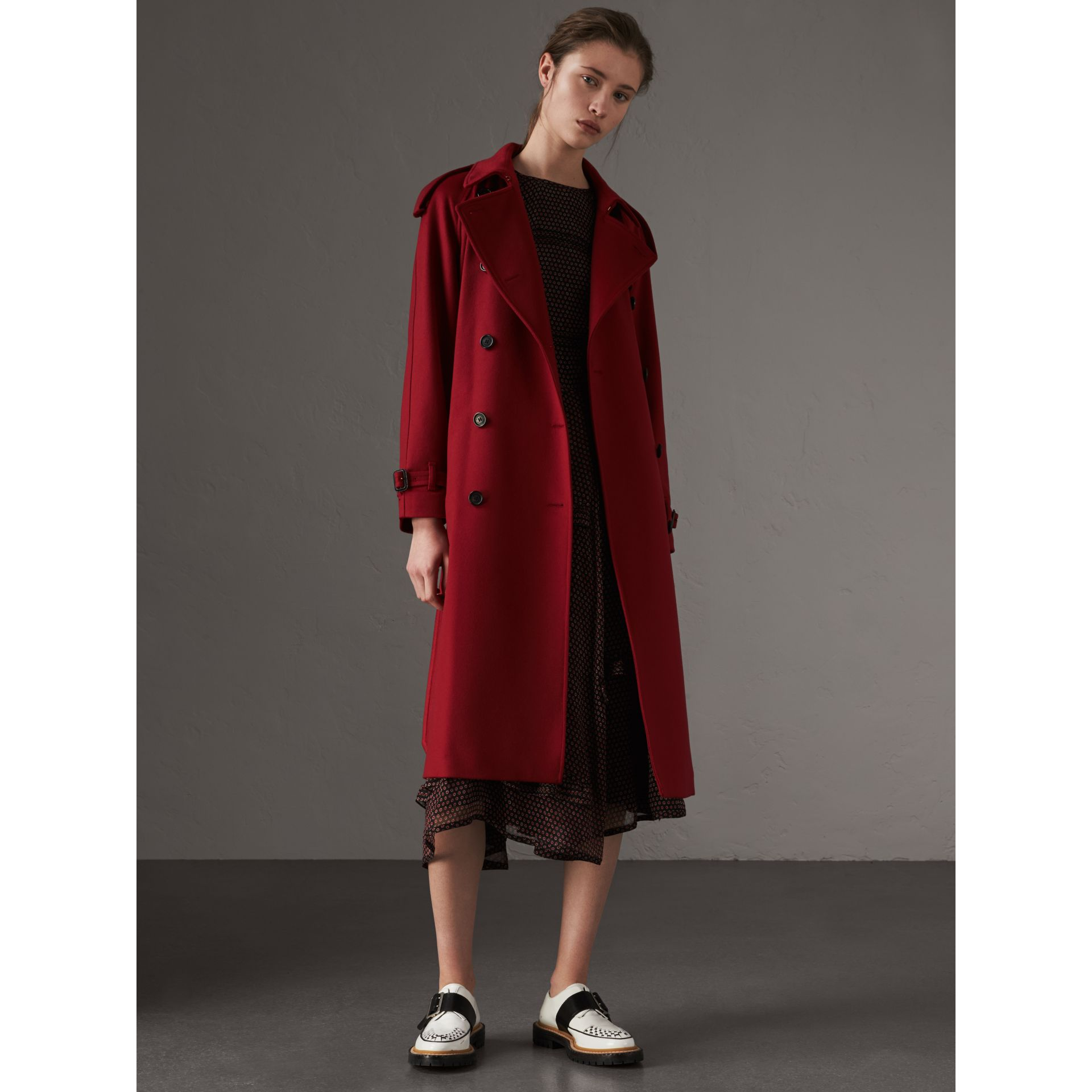 Cashmere Trench Coat in Parade Red - Women | Burberry - gallery image 6