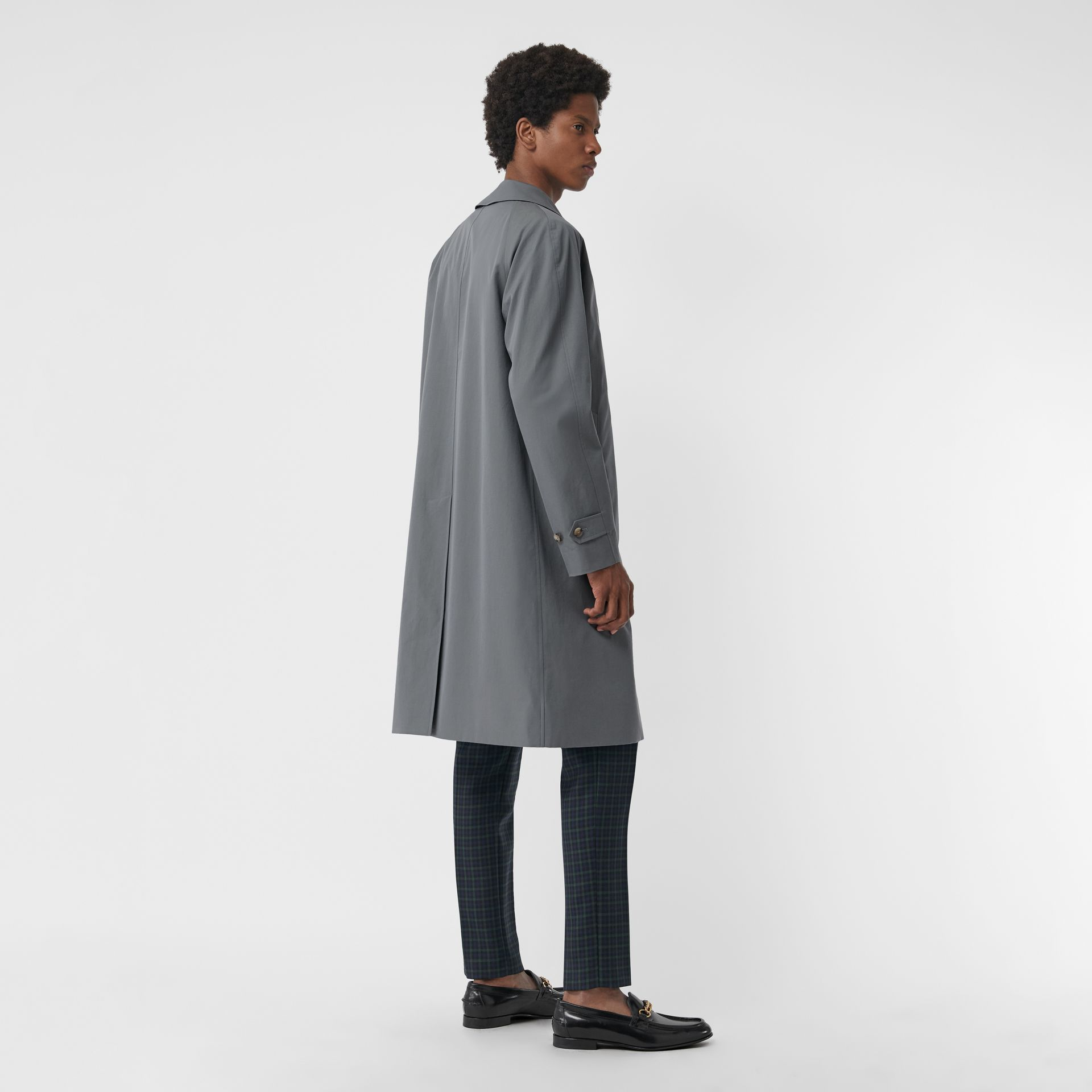 Archive Logo-lined Tropical Gabardine Car Coat in Dusty Blue - Men | Burberry United Kingdom - gallery image 2