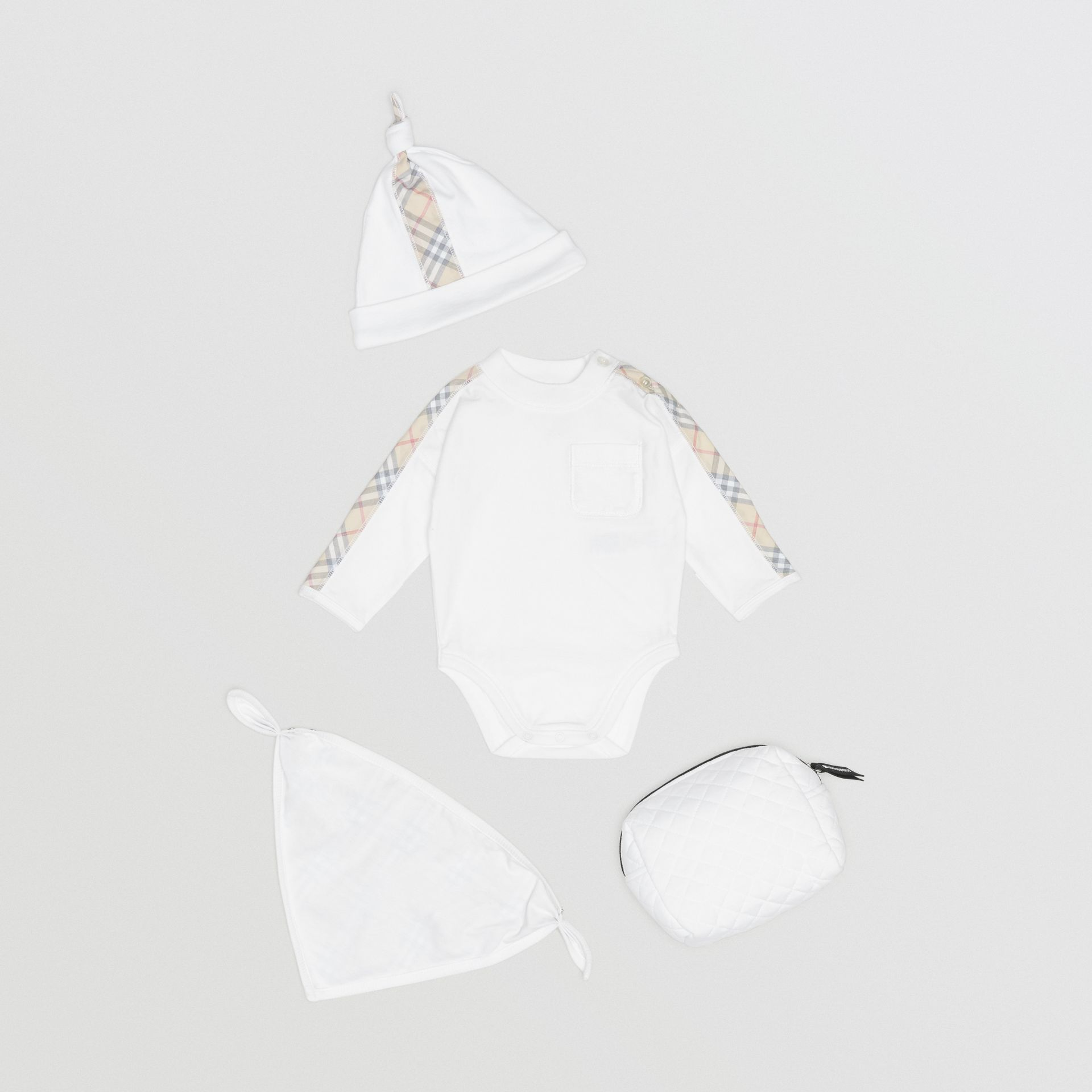 Check Detail Cotton Three-piece Baby Gift Set in White - Children | Burberry Singapore - gallery image 2