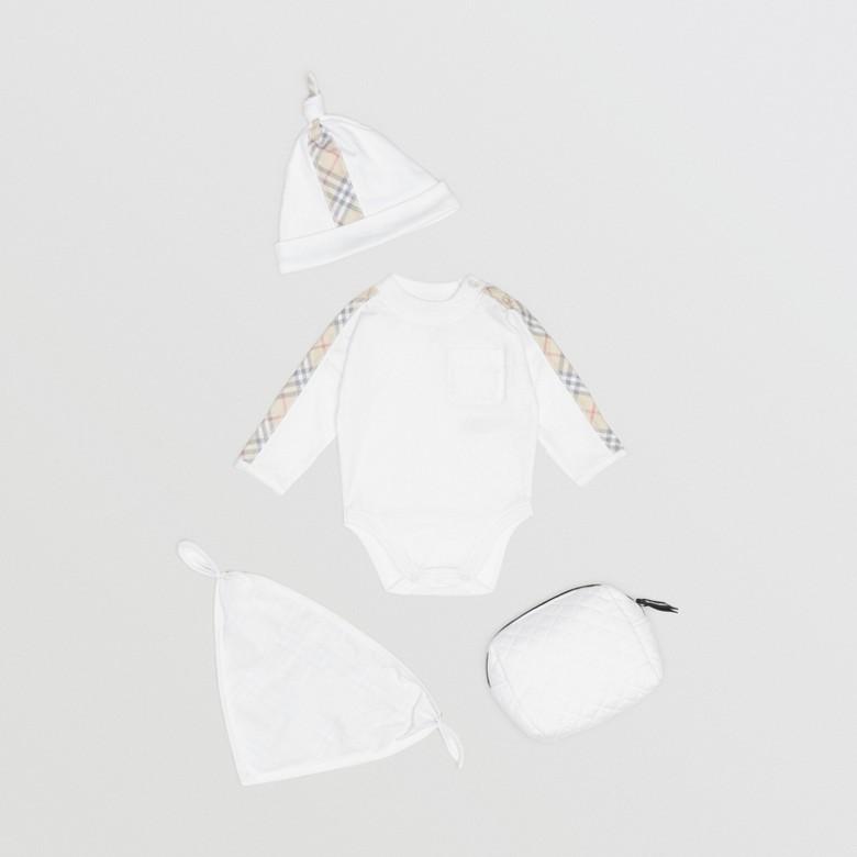 Burberry - Coffret cadeau trois pièces en coton check pour bébé - 3