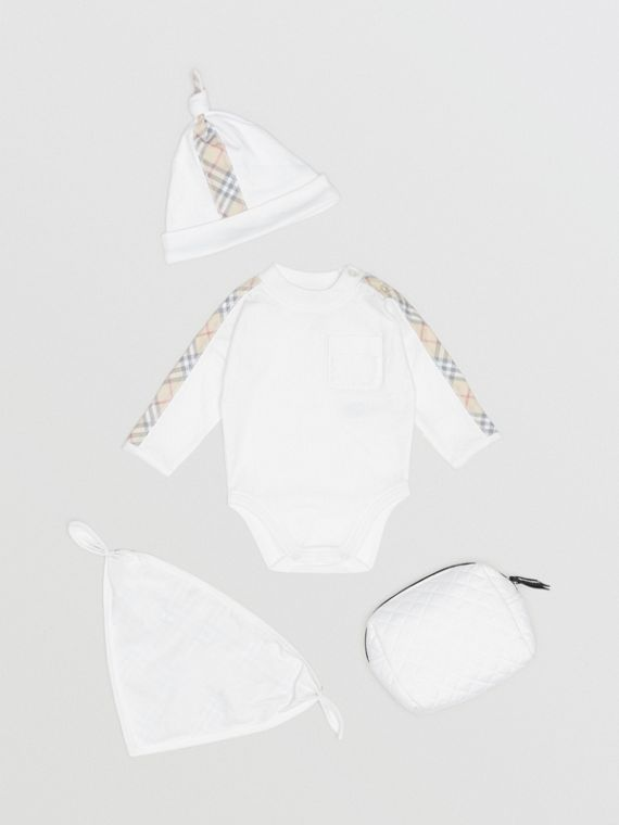 Check Detail Cotton Three-piece Baby Gift Set in White
