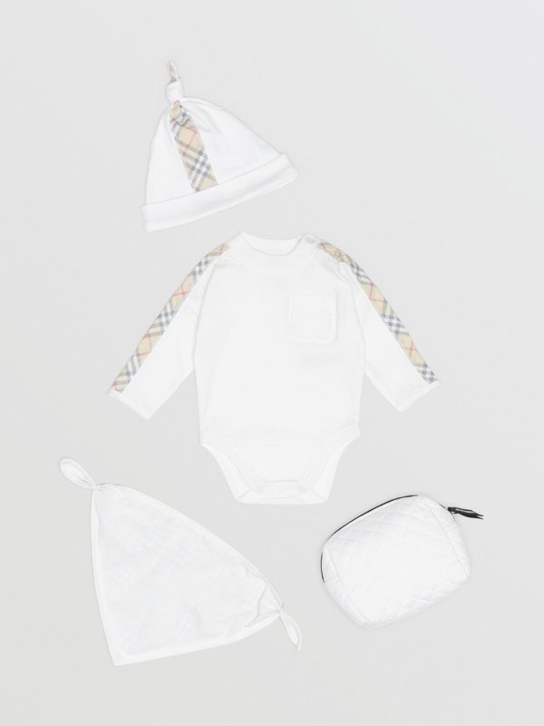 Check Detail Cotton Three-piece Baby Gift Set in White - Children | Burberry - cell image 2