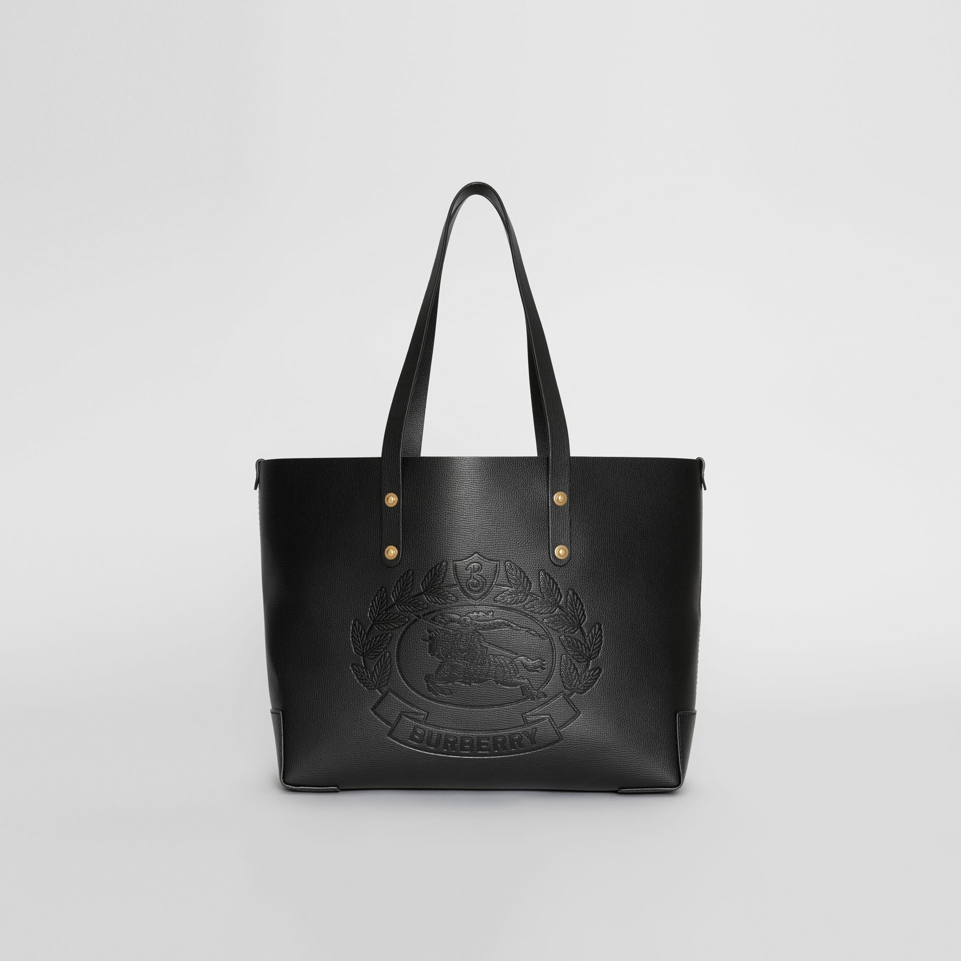 Small Embossed Crest Leather Tote in Black | Burberry Australia - gallery image 0