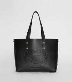 Small Embossed Crest Leather Tote in Black 63948fe81e8fa