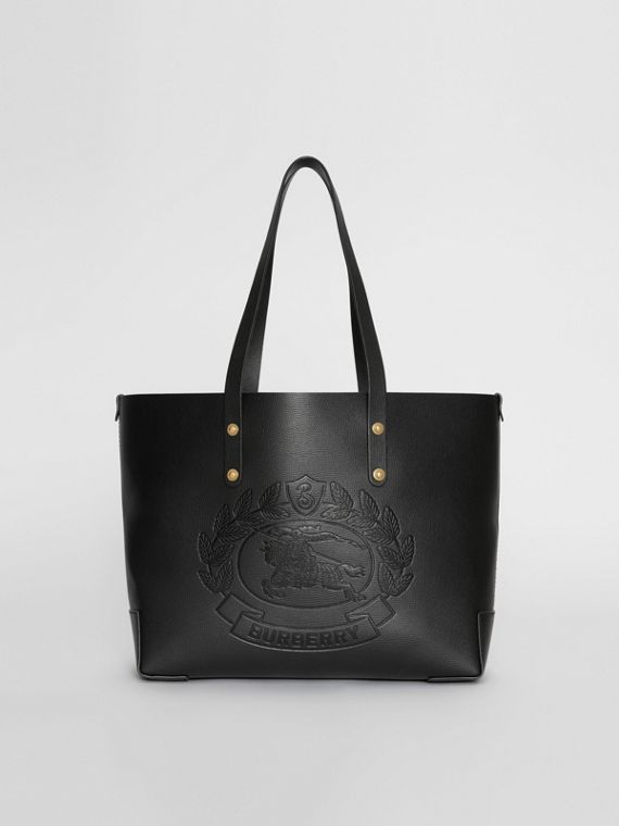 Small Embossed Crest Leather Tote in Black