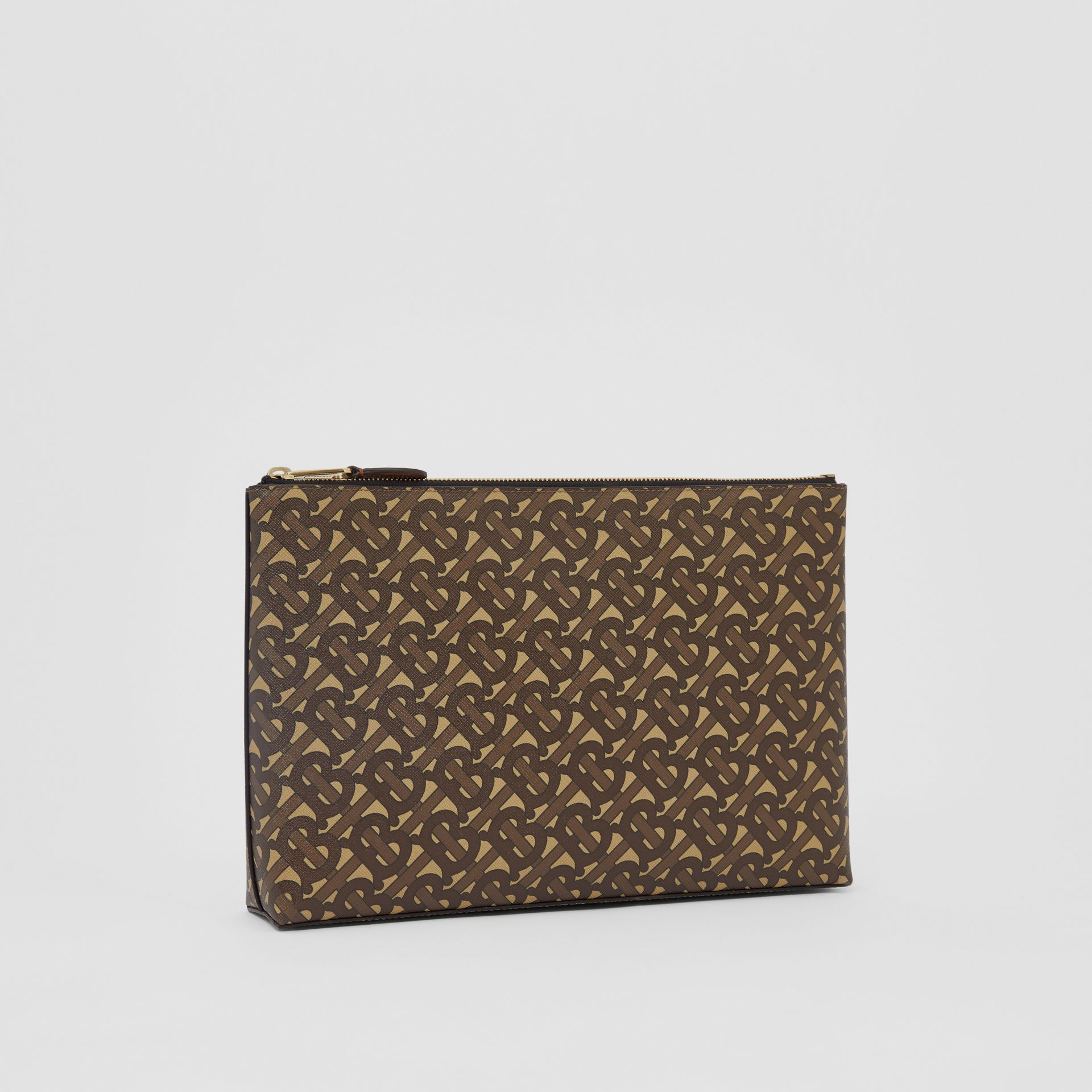 Monogram Print E-canvas Zip Pouch in Bridle Brown | Burberry United States - gallery image 7