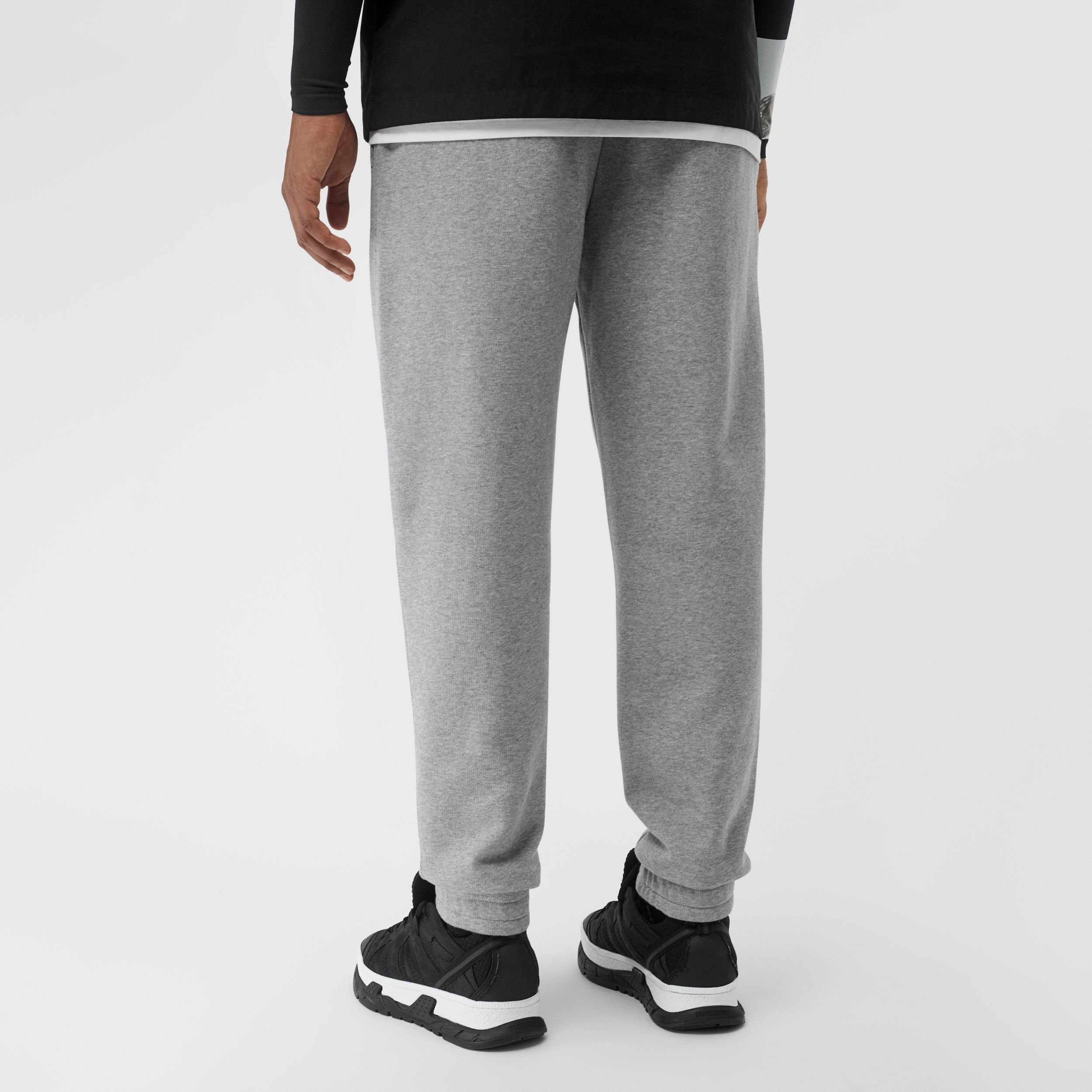 Logo Print Cotton Trackpants in Pale Grey Melange - Men | Burberry - 3