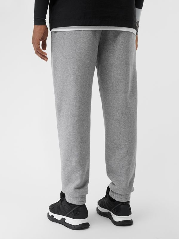 Logo Print Cotton Trackpants in Pale Grey Melange - Men | Burberry Singapore - cell image 2
