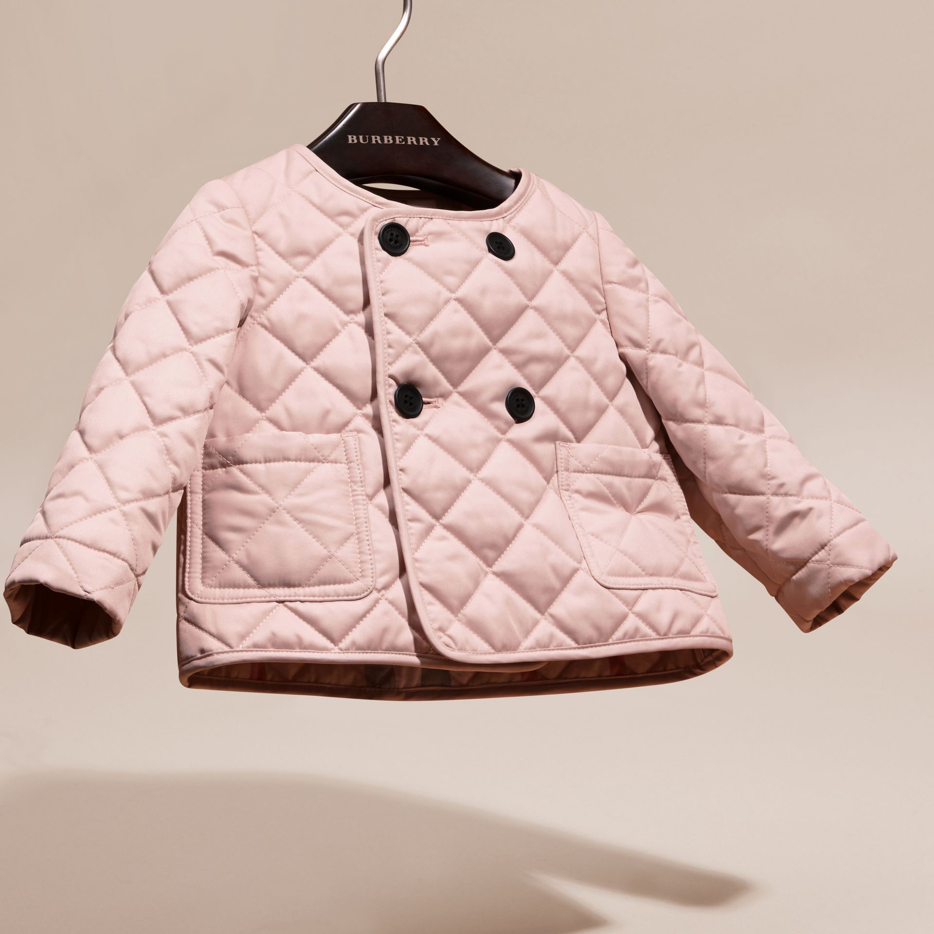 Powder pink Collarless Diamond Quilted Jacket - gallery image 3